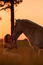 Preview iPhone wallpaper Girl and horse at sunset