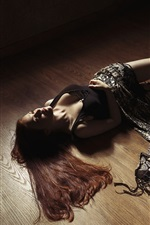 Preview iPhone wallpaper Girl lying on floor, pose, legs, cloth