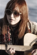 Preview iPhone wallpaper Girl play guitar, glasses, music