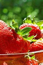 Preview iPhone wallpaper Glass bowl, ripe strawberries, fresh fruit