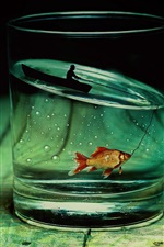 Preview iPhone wallpaper Glass cup, fish, boat, fishing, fisher, creative