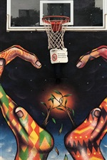 Preview iPhone wallpaper Graffiti, hands, basketball net, creative