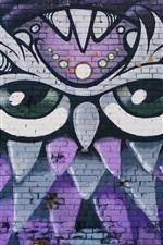 Preview iPhone wallpaper Graffiti wall, owl, art drawing
