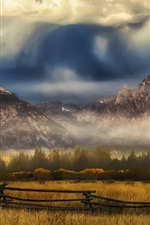 Preview iPhone wallpaper Grass, fence, mountains, clouds, autumn