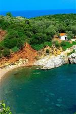 Greece, Laguna, Naxos, house, sea, stones, trees