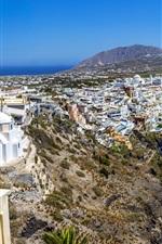 Preview iPhone wallpaper Greece, Santorini, city, houses, coast, sea, sky, rocks