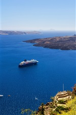 Preview iPhone wallpaper Greece, Santorini, coast, yachts, blue sea