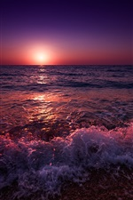 Preview iPhone wallpaper Greece, sea, beach, waves, sunset, purple style