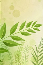 Preview iPhone wallpaper Green leaves, twigs, vector background