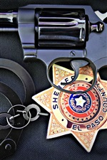 Preview iPhone wallpaper Gun, police, icon, handcuffs