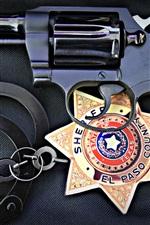 iPhone fondos de pantalla Pistola, policía, icono, esposas