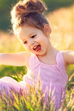 Preview iPhone wallpaper Happy child girl, grass, summer