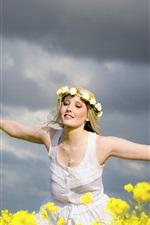 Happy girl, wreath, flowers, summer