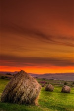 Hay, field, sunset, red sky