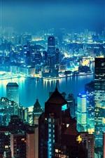 Preview iPhone wallpaper Hong Kong, skyscrapers, panorama, megapolis, night, lights