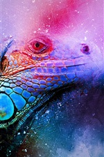 Preview iPhone wallpaper Iguana art edit, colorful
