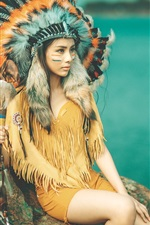 Preview iPhone wallpaper Indian girl, face, feathers, headdress