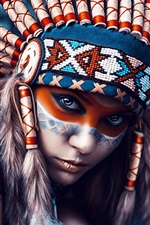 Preview iPhone wallpaper Indians girl, head decoration, makeup