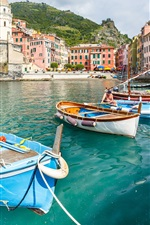Preview iPhone wallpaper Italy, Cinque Terre, Vernazza, mountains, boats, people, Ligurian coast