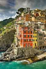 Preview iPhone wallpaper Italy, Ligurian sea, Riomaggiore, Cinque Terre, sea, coast, city