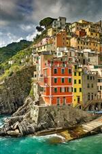 Preview iPhone wallpaper Italy, Ligurian sea, Riomaggiore, Cinque Terre, sea, coast, city