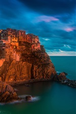 Preview iPhone wallpaper Italy, Manarola, Cinque Terre, sea, night, lights