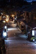 Preview iPhone wallpaper Japan, Kyoto, street, night, lights, old town