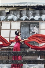 Preview iPhone wallpaper Japanese woman, winter, snow, red dress, ribbon