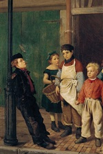 John George Brown, The Bully of the Neighborhood, oil painting