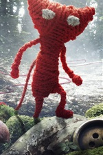 Preview iPhone wallpaper Knitted, red cat, ladybug, forest, creative design
