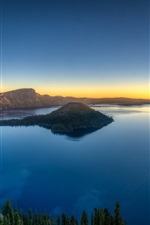 Preview iPhone wallpaper Lake, island, crater, trees, dawn