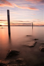 Preview iPhone wallpaper Lake, sunset, stump, sky