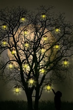 Preview iPhone wallpaper Lamp tree, light, night, creative