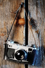 Câmera SLR Leica, placa de madeira