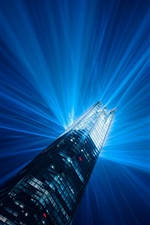London, England, skyscraper, building, light beams, illumination, night