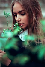 Preview iPhone wallpaper Long hair girl, spring, twigs, flowers