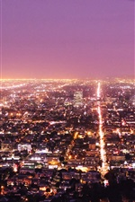 Preview iPhone wallpaper Los Angeles, city, night, lights, top view, USA