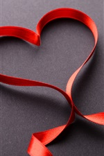 Preview iPhone wallpaper Love heart, red ribbon