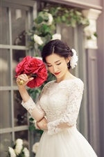 Preview iPhone wallpaper Lovely bride, beautiful dress, flowers
