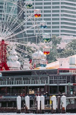 Preview iPhone wallpaper Luna Park, ferris wheel, city, Sydney, Australia