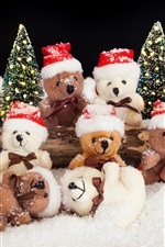 Preview iPhone wallpaper Many bear toys, snow, winter
