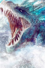 Preview iPhone wallpaper Marine monster, water splash, fantasy art