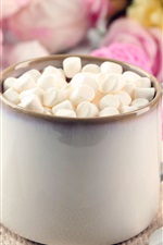 Preview iPhone wallpaper Marshmallows, cup, flowers