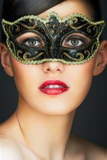 Mask girl, brown eyes, red lips