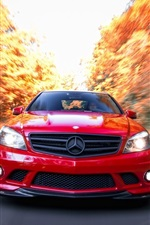 Preview iPhone wallpaper Mercedes-Benz C63 AMG red car front view, speed