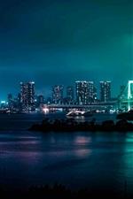 Preview iPhone wallpaper Minato, Japan, city night, bridge, river, skyscrapers, lights