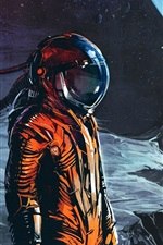Preview iPhone wallpaper Moon, planet, astronaut, art picture