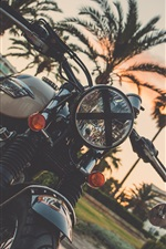 Preview iPhone wallpaper Motorcycle, palm trees, dusk