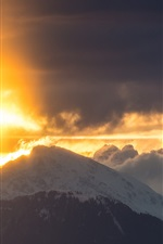 Preview iPhone wallpaper Mountain, cloud, sunrise, snow
