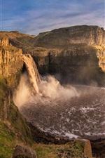 Aperçu iPhone fond d'écranMontagnes, canyon, cascade, rivière, roches